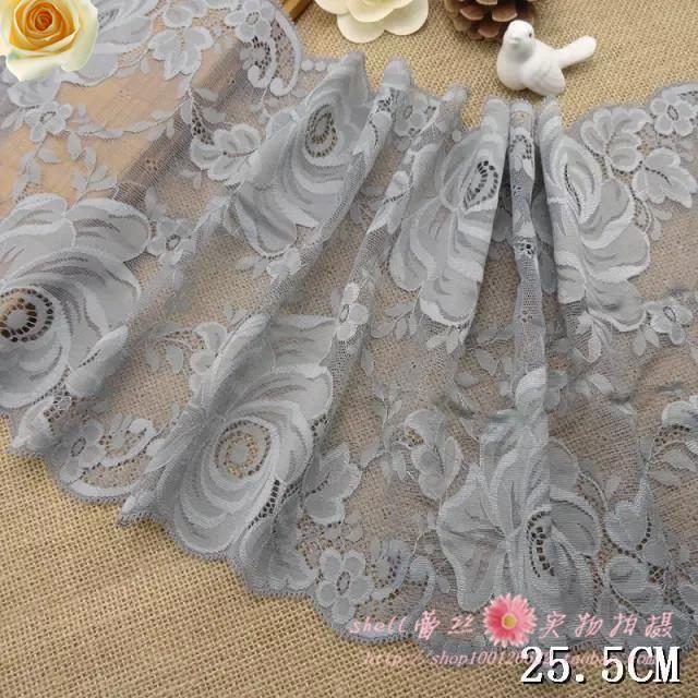 Doprava zdarma 26 cm Šedá elastické krajkové zdobenie doplnky šitie odevu tkaniny sukne Ultra široký 3 metre