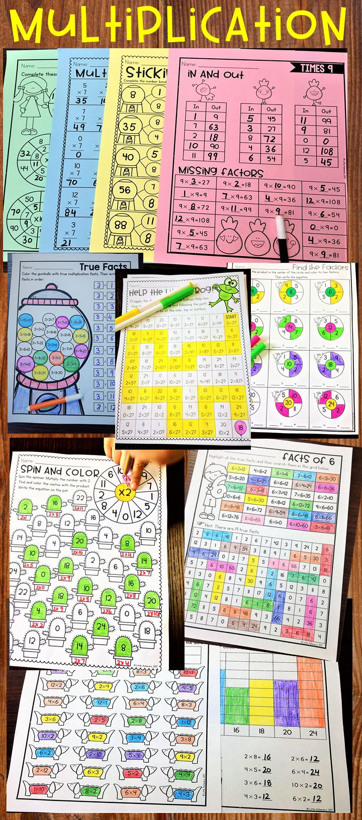 Multiplication Worksheets and Activities Bundle - This Bundle of multiplication tables from 2 to 12 is designed to help students practice, learn and master multiplication facts in a fun, engaging and easy way.