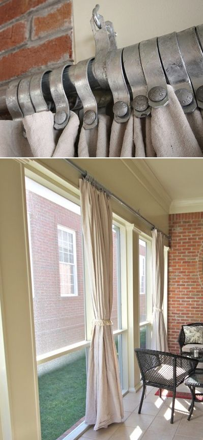 porch curtains #howto made with rust-resistant chain-link fencing hardware and canvas painter's drop cloths! #diy #myo