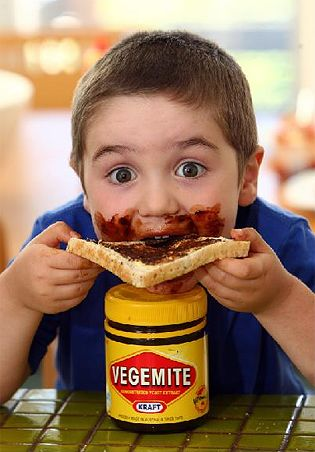 not sure I would EVER use this much vegemite on bread/toast but each to their own...and start them young !!!