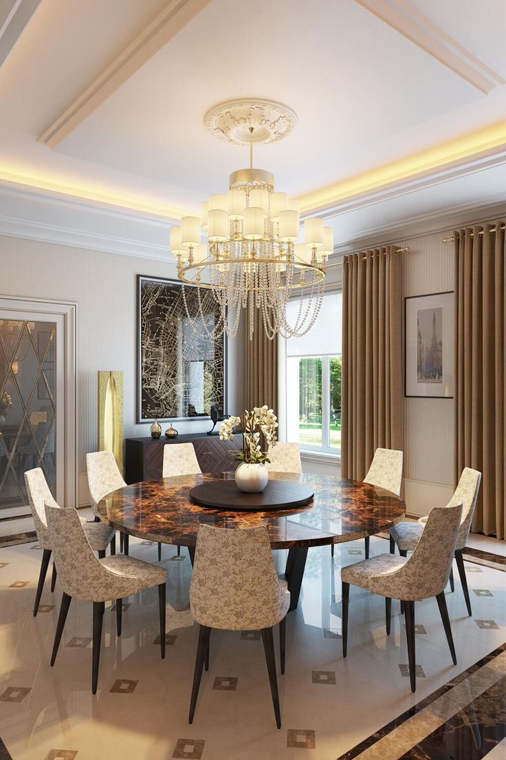 Dining room architectural rendering by ArchiCGI via Evermotion