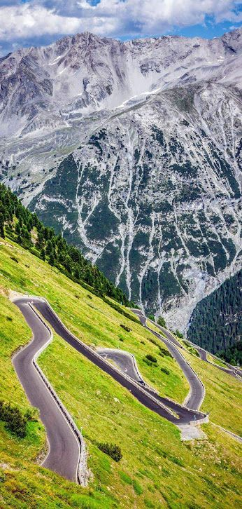 The Stelvio Mountain Pass in northern Italy is the highest paved mountain pass in the Eastern Alps and the second highest in the Alps. The route has seventy-five hairpin bends, 48 of them on the northern side numbered with stones are a challenge to motorists. Stirling Moss went off the road here during a vintage car event in the 1990s. Photo: google+.com/explore/Italy