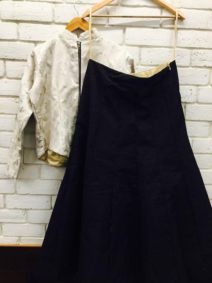 Black skirt with silver jacket. #indianwear#indiabride#weddingoutfit