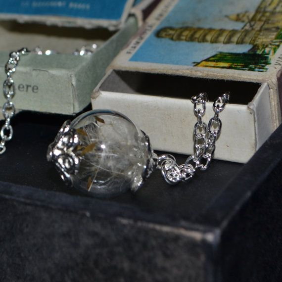 Make a Wish: Real Dandelion Seed Glass Orb / Globe pendant Necklace - Childhood Memories