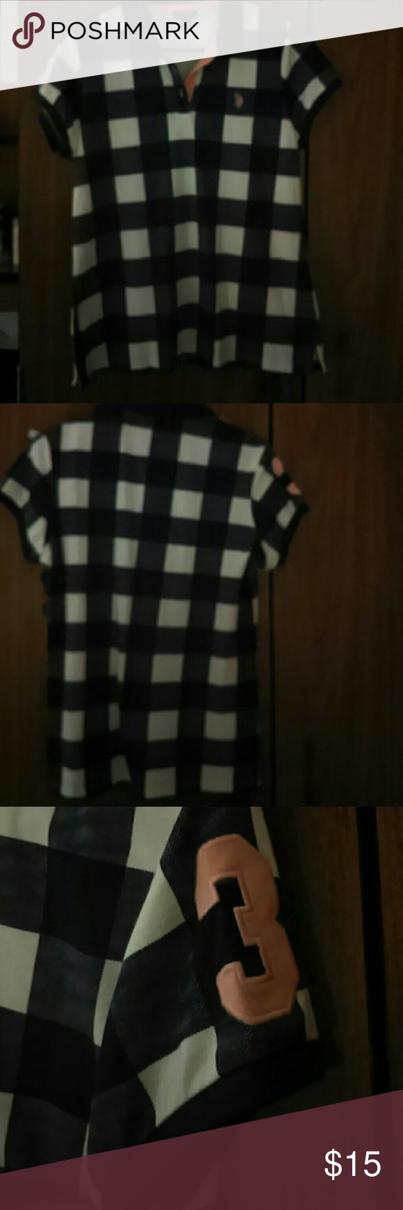 Cute buffalo check print polo shirt Never been worn. New without Tag. U.S. Polo Assn. Tops Button Down Shirts