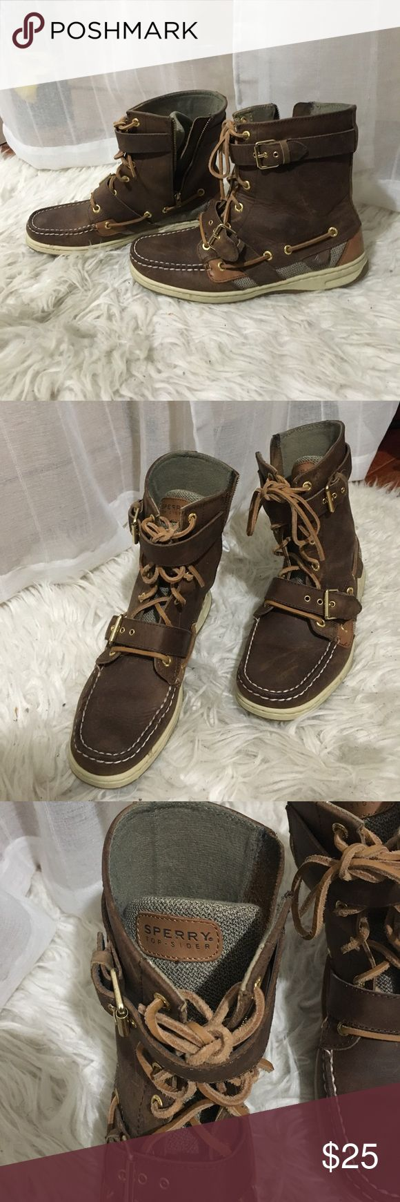 Brown top sider boots Sperrys Brown with gold detail Sperrys Top Sider. Sperry Top-Sider Shoes Ankle Boots & Booties