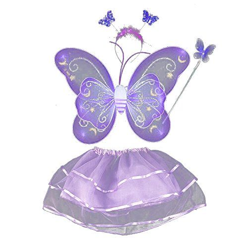 BOBORA Fairy Girl Butterfly Wing Wand Headband Tutu Skirt Halloween Costume Set
