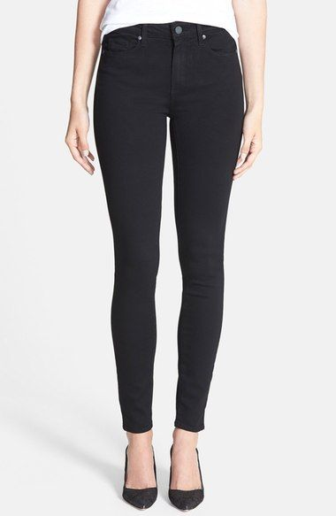 Paige Denim 'Transcend - Hoxton' High Rise Ultra Skinny Stretch Jeans (Black Shadow) available at #Nordstrom