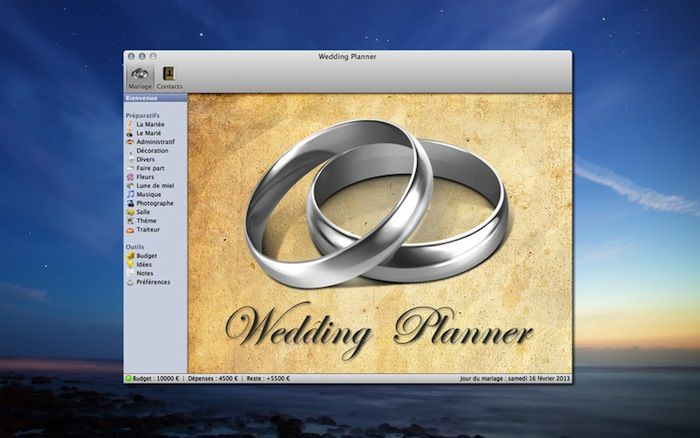 Wedding Planner 1.0.6 software for MacOSX by Rbcafe.