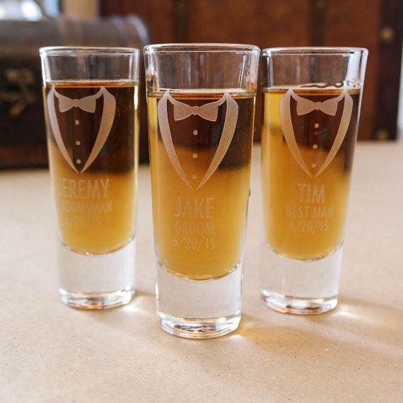 Our modern, personalized Groomsmen engraved shot glasses are the must have gift that will serve as a lasting and meaningful memento for years to come! Customize for your Groomsmen, Best Man, Groom, and Ushers! Also available, Father of the Bride/Groom. Each glass will be