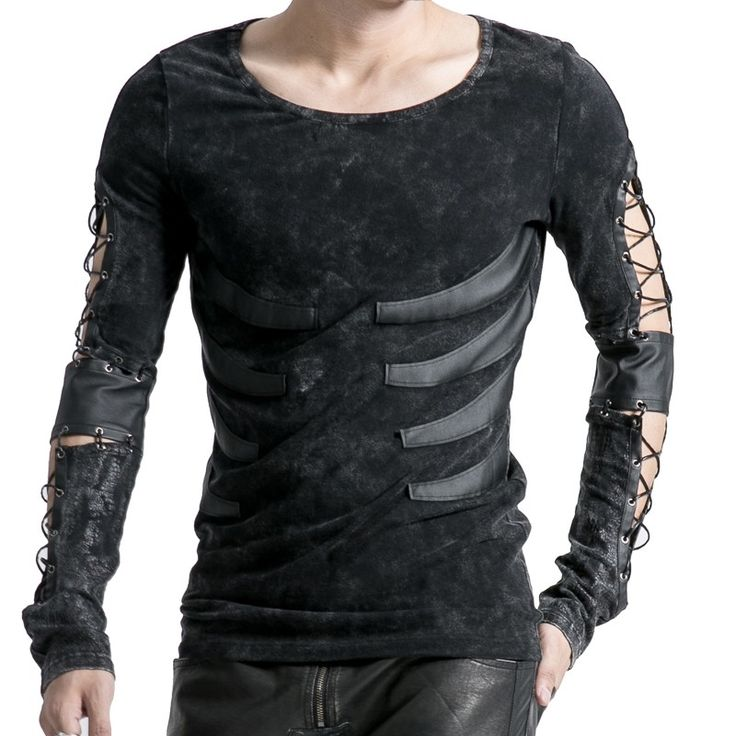 Gothic long-sleeve men's top with strings on sleeves