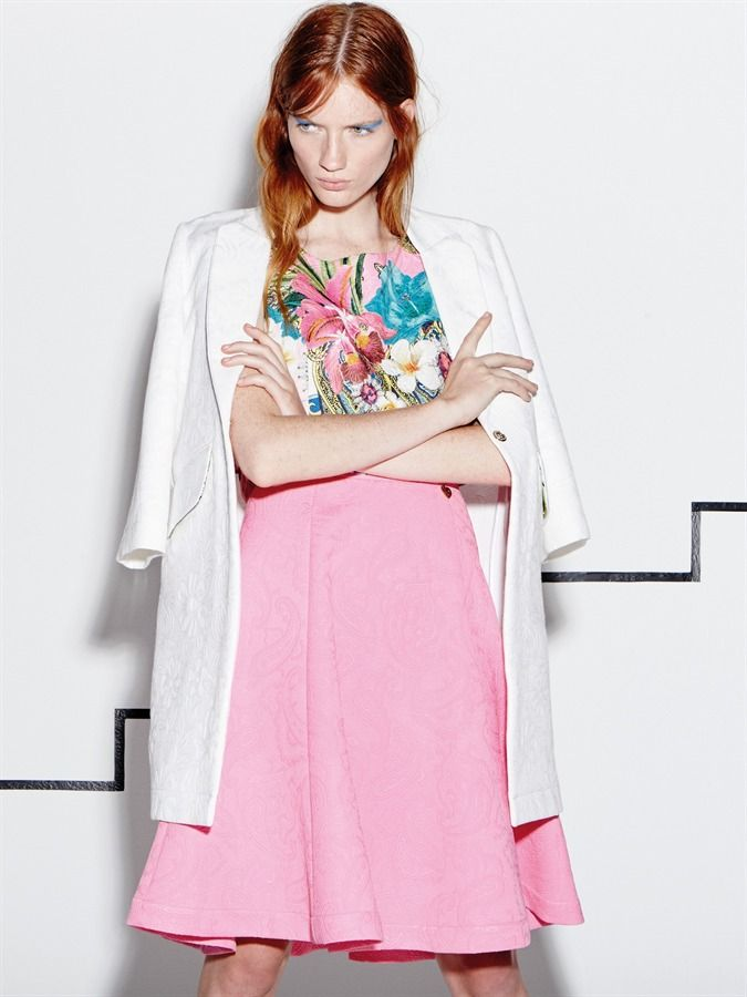 "Model wears Naughty Dog SS16 ""Hawaii"" top, pink jacquard skirt and half sleeves jacquard coat."