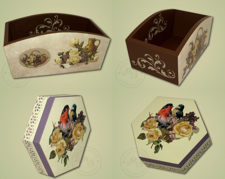 The wooden boxes decorated with classic decoupage.