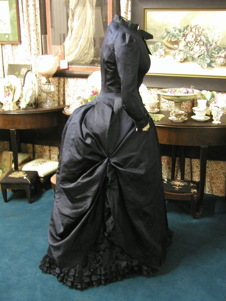 1880's Midnight Blue Silk Bustle Gown
