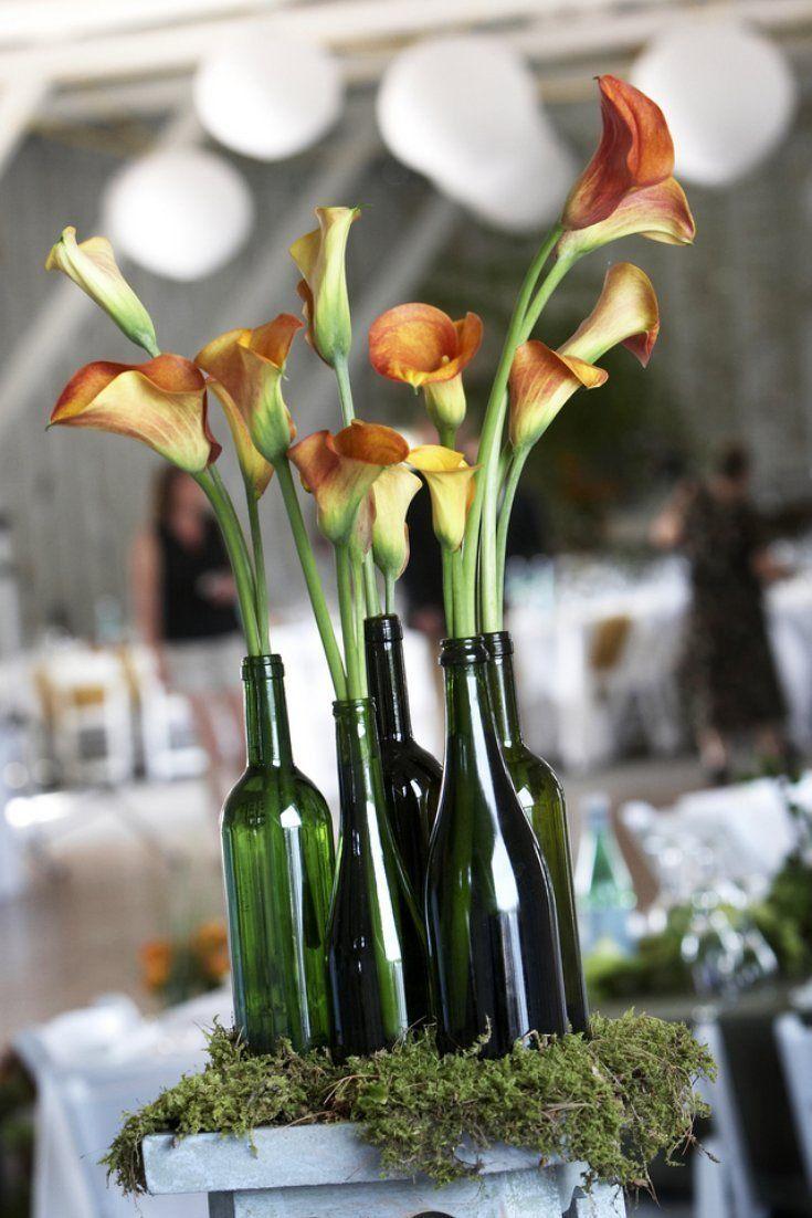 Wedding Centerpieces Elegant Romantic | Wine bottle centerpieces, Wedding  vase centerpieces, Inexpensive wedding centerpieces