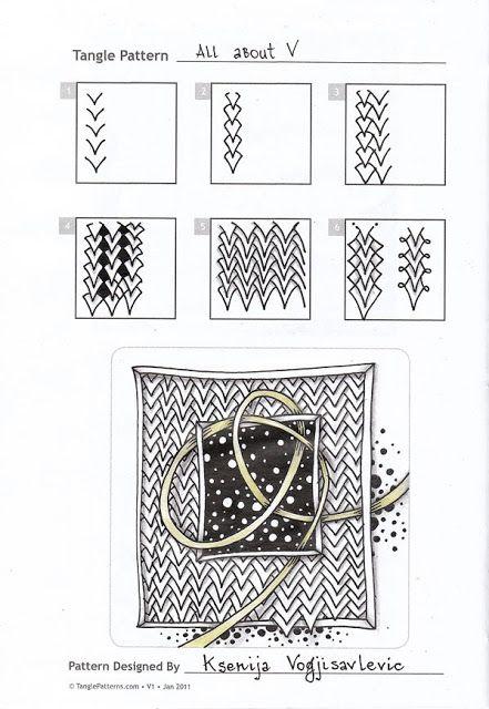 Zentangle. Обучение. Формат страницы А5.  Гелевая ручка, карандаш.  Шаблон с сайта TanglePatterns.com.