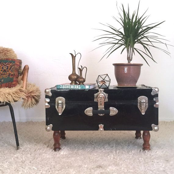 Beautiful Upcycled Trunk Table, Black Steamer Trunk / Coffee Table, Furniture
