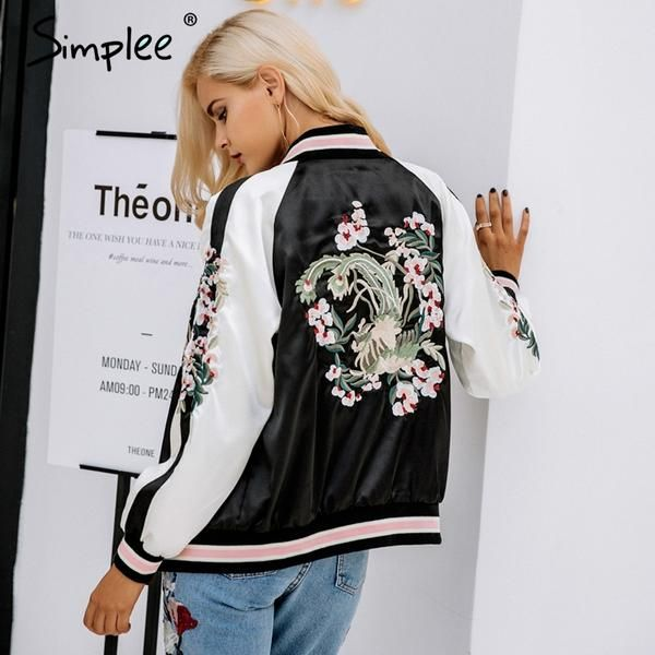 New Women Sexy Embroidered Floral Print Baseball Bomber Jacket – Posh Society