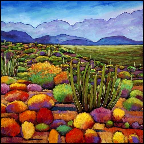 Arizona desert landscape painting with Saguaro cactus, mountains, prickly pear cactus and cloudy skies. Description from jhfineart.com. I searched for this on bing.com/images