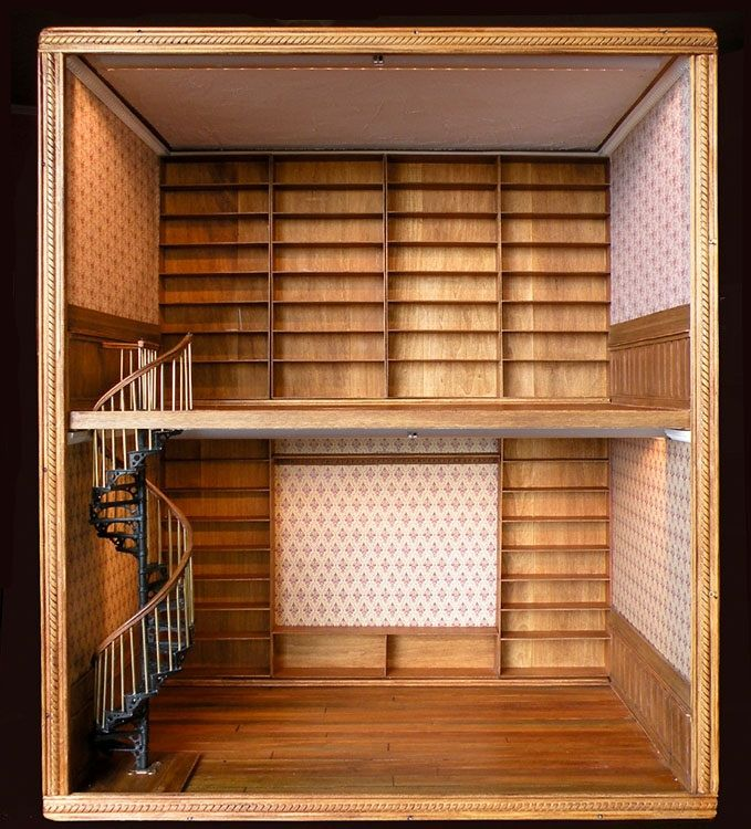 Wow! Mini library! SFH Adds: And I have the dollhouse size books to fill these selves. Love this miniature room potential.