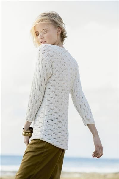 1505: Design 15 Lang genser med lange masker strikket på tvers #Line #bomull #cotton #lin #linen