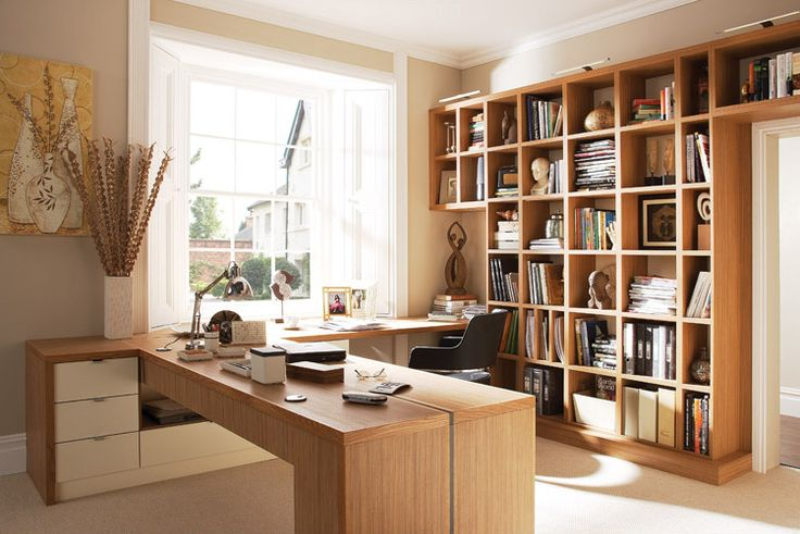 neutral home office wood desk 21 Ideas For Creating The Ultimate Home Office