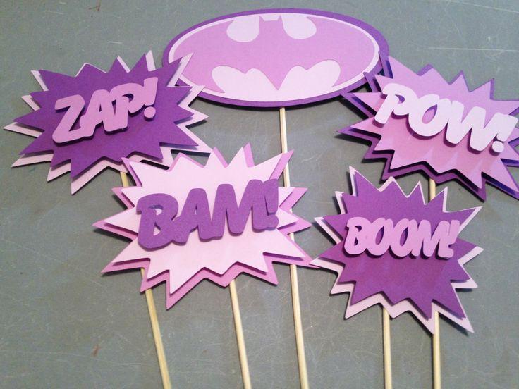 Batgirl Centerpiece,5 pc, Superhero party, Batgirl  Party, Batgirl  Birthday Party by InspiredbyLilyMarie on Etsy https://www.etsy.com/listing/230739672/batgirl-centerpiece5-pc-superhero-party