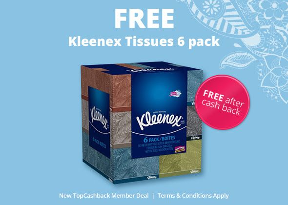 ★★★  ★★★  FREE Kleenex Everyday Facial Tissues, 160 Tissues per Flat Box, Pack of 6: TopCashBack is giving away a Kleenex Everyday…