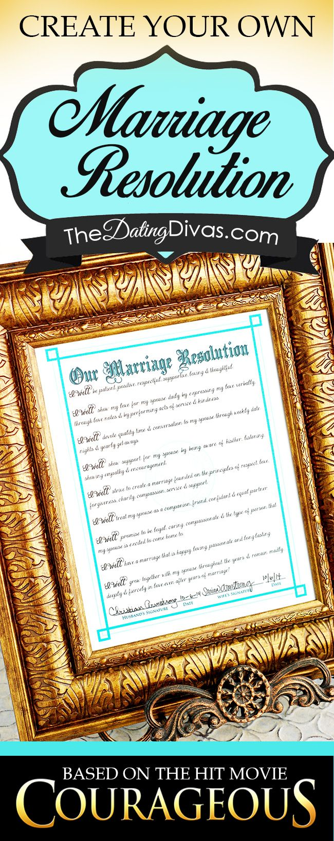 Create your own Marriage Resolution just like in the movie Courageous! I LOVE this idea! www.TheDatingDivas.com