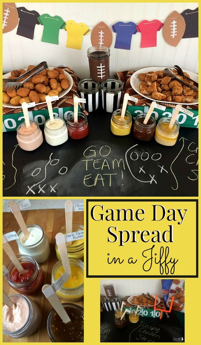 (ad) Game Day Spread In A Jiffy with Tyson® Game Day party prep doesn't have to be time-consuming. Here are some simple DIY decorations and dips to serve with store-bought chicken strips and mini corn dogs! #PlayoffPicks @samsclub