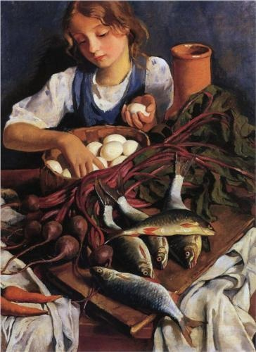 In the kitchen  - Zinaida Serebriakova 1923