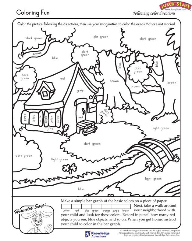 "Coloring Fun"" – Kindergarten Coloring Worksheets for Reading # ..."