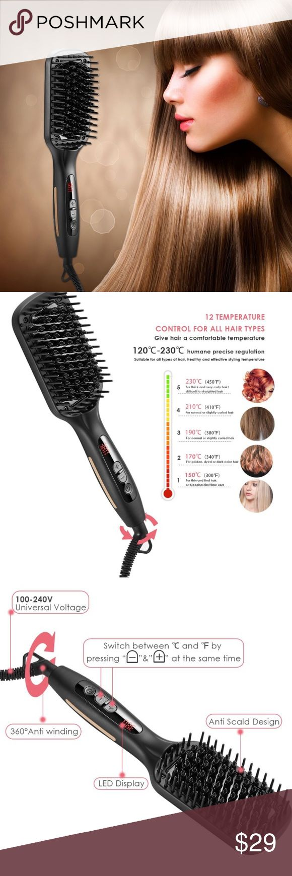 Hair Straightening Brush. New, opened item. Straightener Brush, this updated ions eliminate frizz and the ceramic plats is built to last heat balance technology: evenly distributes infrared heat across the plate to avoid damaging hair with excess heat, suitable for all kinds of hair. TEMPERATURE SETTING--Max 450℉, auto keep constant temperature at 380℉ for all types of hair, customized set 300℉for thin and lind hair or bleaches first use. 340℉ for gloden, dyed or dark color hair. Accessories