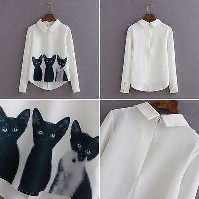 Women Elegant Loose Chiffon Long Sleeve Print Blouse Shirt Tops Casual OL Shirt