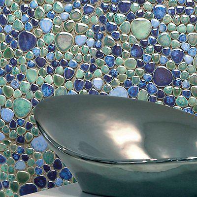 Details Zu Keramik Mosaik Fliesen Kiesel Optik Silex Azzuro