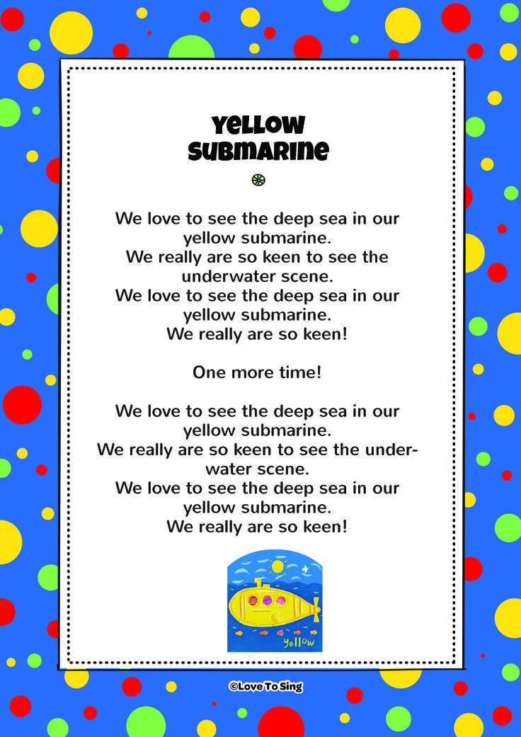 Friends In A Yellow Submarine. Download FREE fun curriculum learning activities and FREE song lyrics from our website. Watch FREE videos! http://www.childrenlovetosing.com/kids-song/friends-in-a-yellow-submarine/ #education #colorsongs
