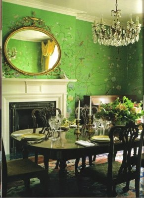 green dining room. bohemian.