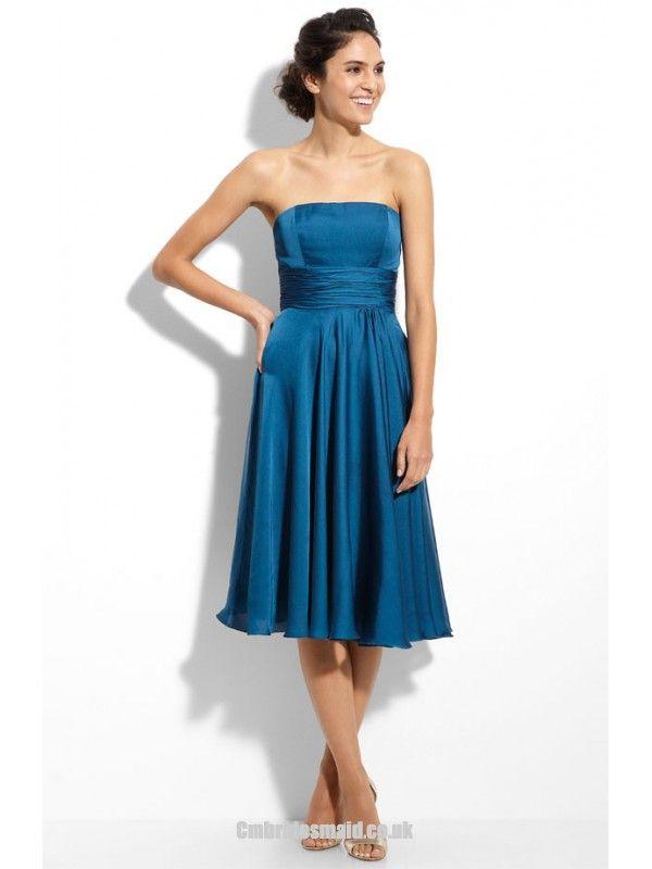 2012 A-line Strapless Teal Tea Length Uk Bridesmaid Dress Belfast BD0018 300shopping