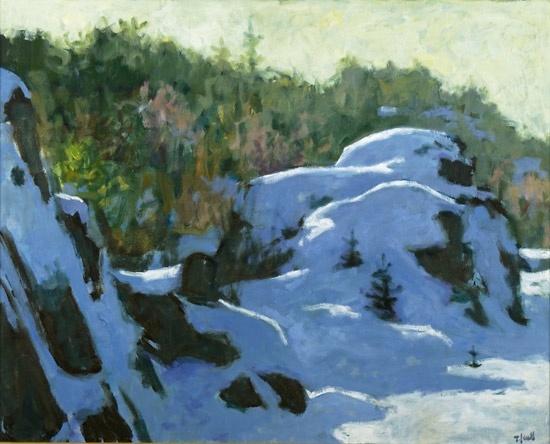 Tore Juell (1942-): Steinknauser dekket av sne