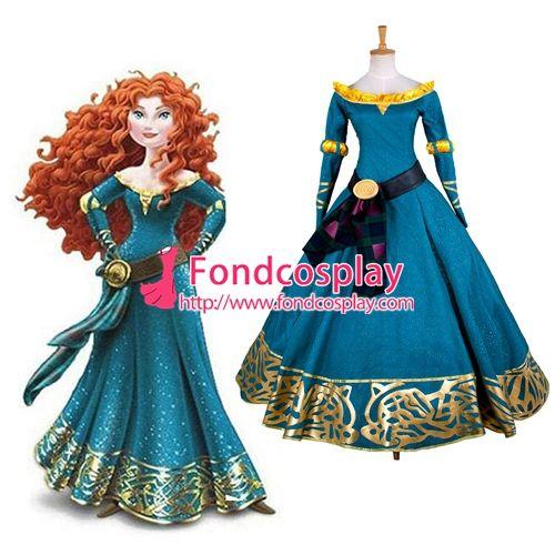 Free Shipping Disney New Version Brave Princess Merida Dress Movie Cosplay…