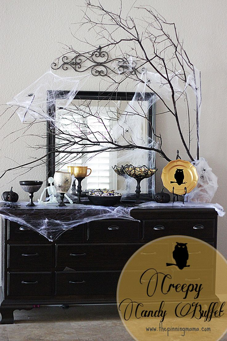 Halloween buffet table - Creepy Candy Buffet With Martha Stewart Decoupage By Www Thepinningmama Com
