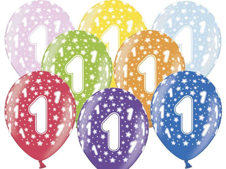 """Balon lateksowy 14"""" (37 cm) z dwustronnym nadrukiem """" Cyfra 1"""". Doskonała dekoracja na przyjęcie z okazji pierwszych urodzin dziecka."""