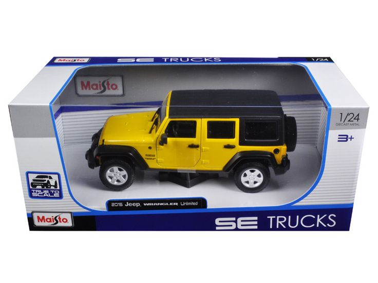 2015 Jeep Wrangler Unlimited Yellow 1/24 Diecast Model Car by Maisto