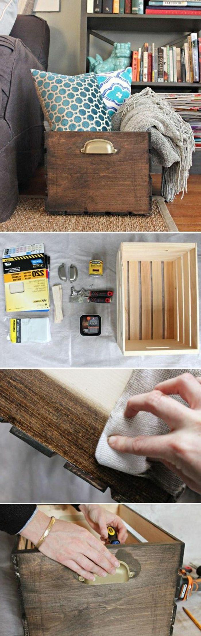 coffre de rangement tutoriel, cagette bois, idée où ranger du linge maison, coussins et couverture de lit grise
