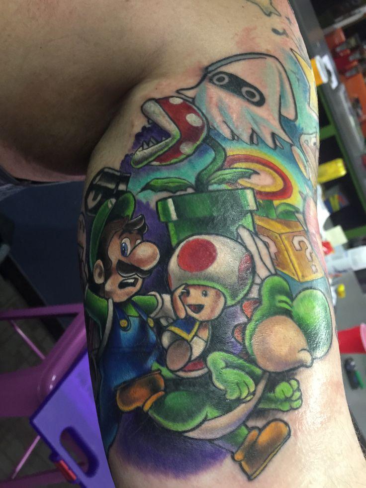 Mario sleeve by Heather Maranda. Area 51 tattoo, Springfield, Oregon.