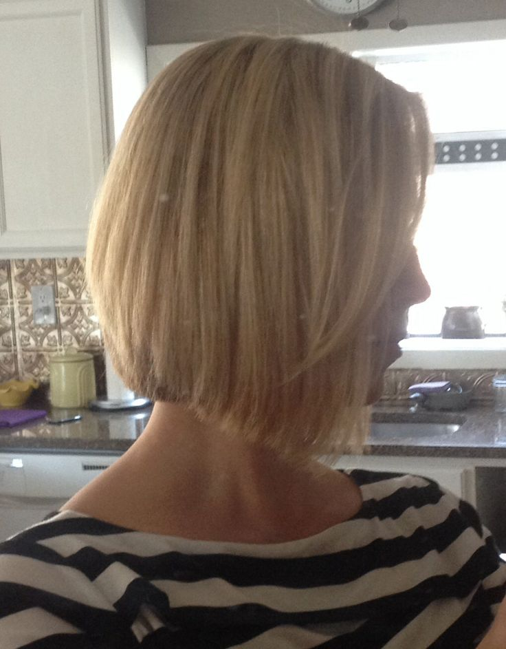 Angled bob with wispy side bangs, blonde highlights ~ hair cut ready for spring!