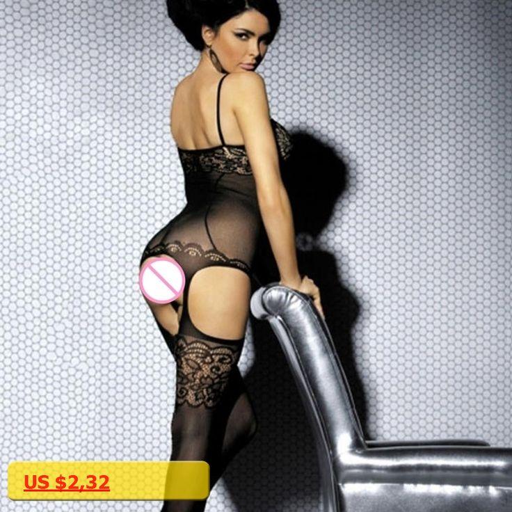 Womens Fashion Sexy Open Crotch Lace Strap Body Stocking Lingerie Bodysuit Nightwear