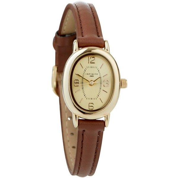 Ladies brown oval dial skinny strap watch (350 HNL) ❤ liked on Polyvore featuring jewelry, watches, accessories, bracelets, fillers, leather-strap watches, brown watches, brown strap watches, brown jewelry and brown wrist watch
