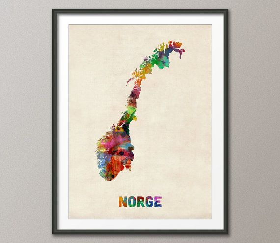 Norway Watercolor Map Norge Art Print 12x16 to 24x36 by artPause, £12.99