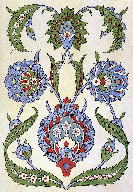 Painted pottery flowers leaves 17th century